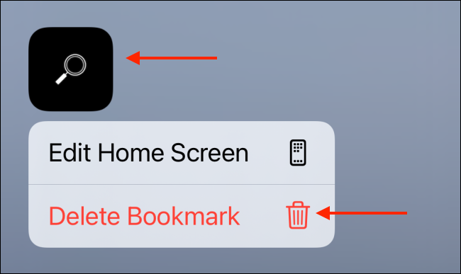 Tap and Hold Shortcut Icon and Select Delete Bookmark