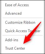 Opzione Trust Center nella finestra delle opzioni di Word