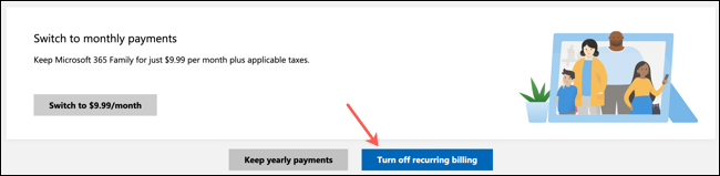 Click Turn Off Recurring Billing