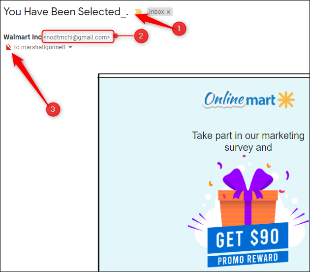 Walmart phishing attempt
