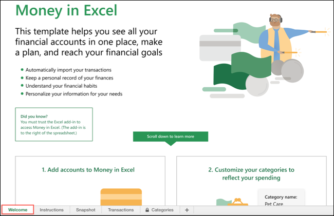 Welcome Tab in Money In Excel
