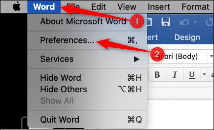 Preferenze di Word in Mac