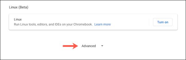 Reveal advanced settings on Chromebook