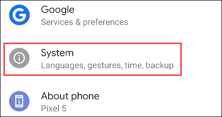 select System from Settings