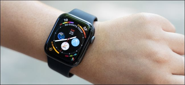 An Apple Watch with a dark watch face on a person's wrist.