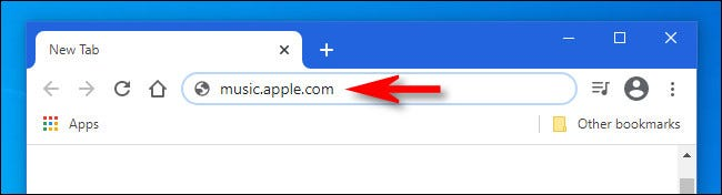 """Enter """"music.apple.com"""" in your favorite web browser."""