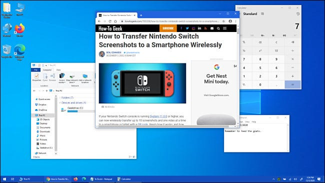 An example of a messy Windows 10 desktop.
