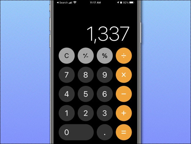 The iPhone Calculator app in a vertical orientation, showing normal mode.