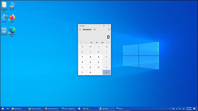 O aplicativo Calculadora do Windows 10 foi trazido para o primeiro plano.
