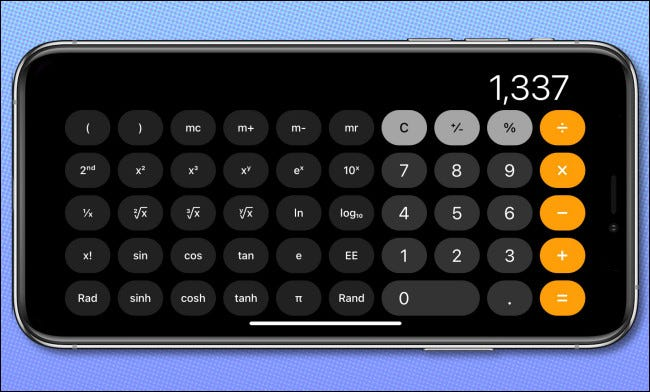 The iPhone Calculator app in a horizontal orientation, showing scientific mode.