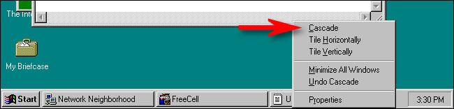 The cascade option in Windows 95.