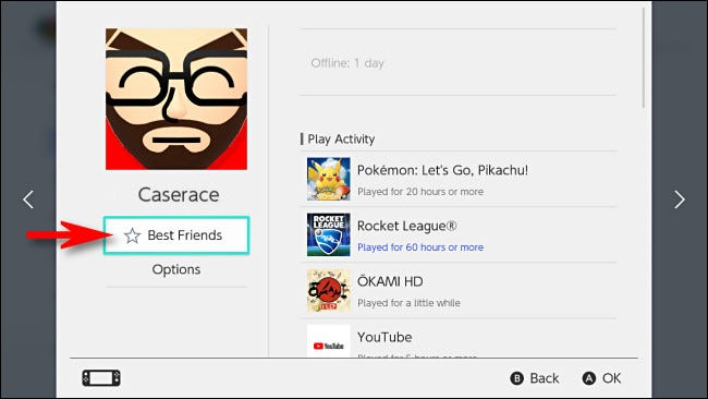 """Select """"Best Friends"""" on the Switch under the friend's name."""