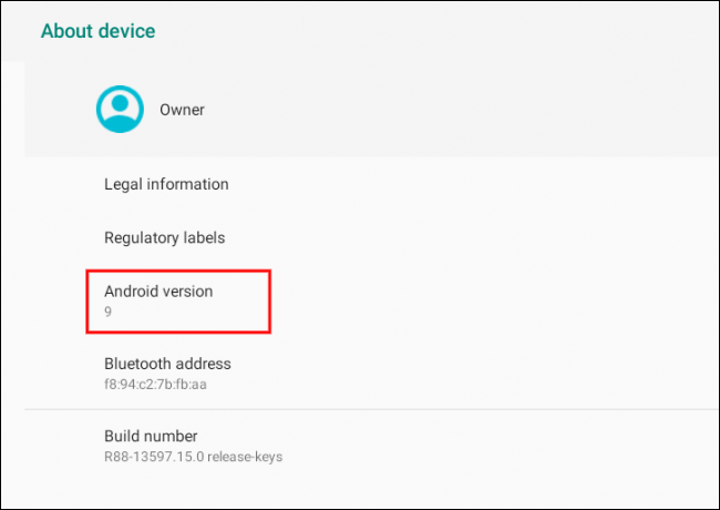 Here you will see the Android version number