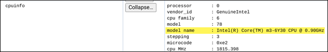 """Your Chromebook's CPU name and speed will be listed next to """"Model Name"""""""