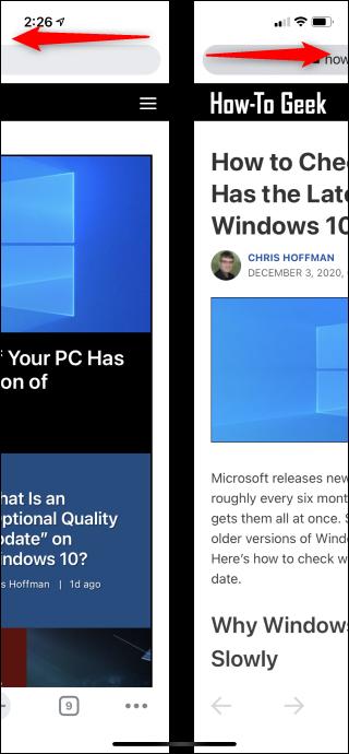 Swipe left or right on Chrome's toolbar