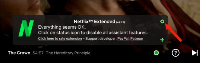 Clique no ícone de configurações de engrenagem no Netflix Extended