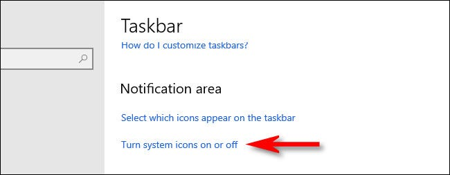 """Click """"Turn system icons on or off"""""""