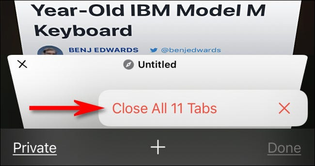 """In the pop-up, select """"Close All Tabs."""""""