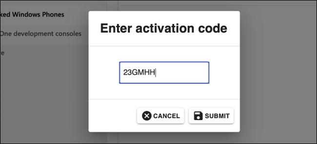 Enter Code in Microsoft Partner Center
