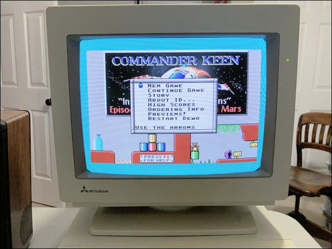 """A menu in """"Commander Keen"""" on an old PC monitor."""