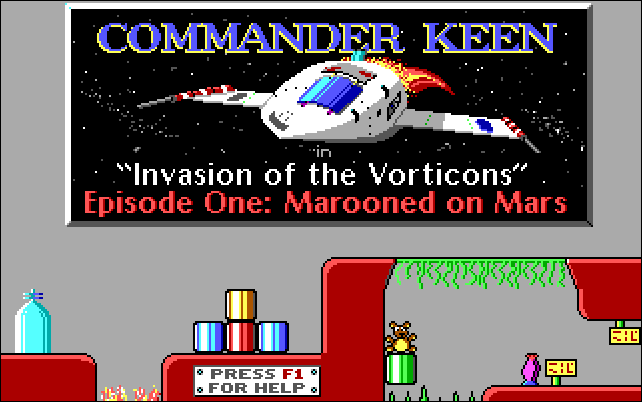"""A spaceship under the title """"Commander Keen: Invasion of the Vorticons Episode One: Marooned on Mars."""""""