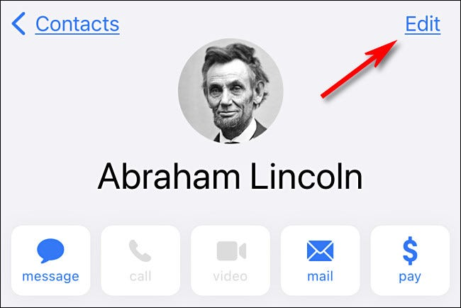 In iPhone contacts, tap