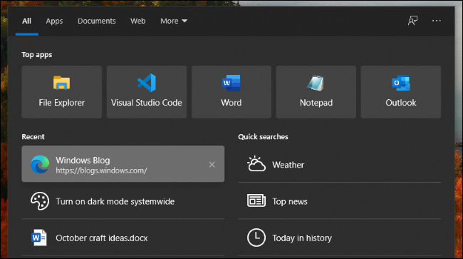 Dark Mode and history entries in Windows 10's search interface.