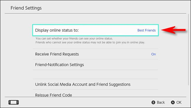 """In Switch User Settings, set """"Display play online status to"""" to """"Best Friends."""""""
