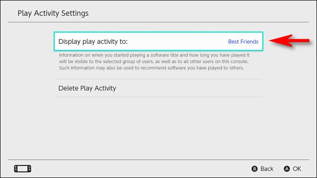 """In Switch User Settings, set """"Display play activity to"""" to """"Best Friends."""""""