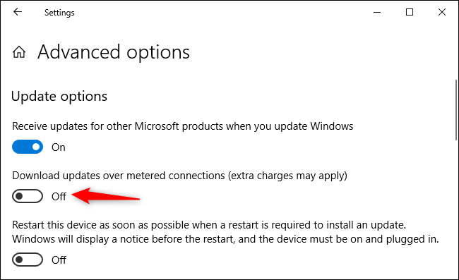"Ensure ""Download updates over metered connections"" is off."