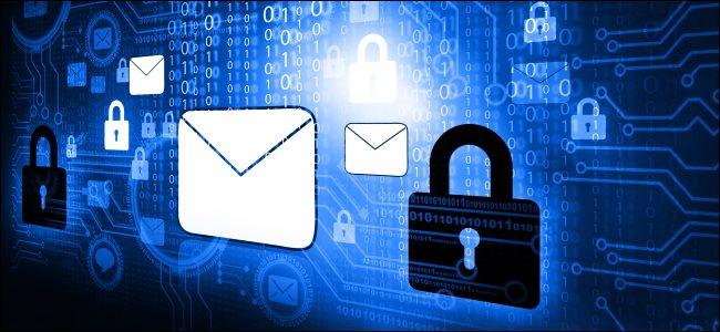 Mensagem de e-mail e ícones de bloqueio que representam a criptografia de e-mail.