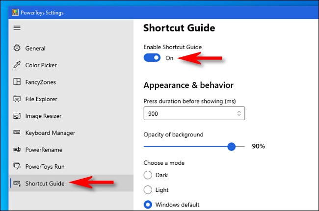 "Click ""Shortcut Guide"" in the sidebar then make sure ""Enable Shortcut Guide"" is set to ""On."""