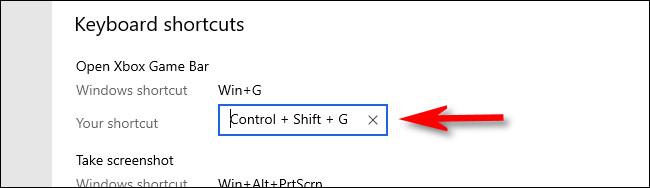 Nhấp vào hộp phím tắt Xbox Game Bar và nhập phím tắt.