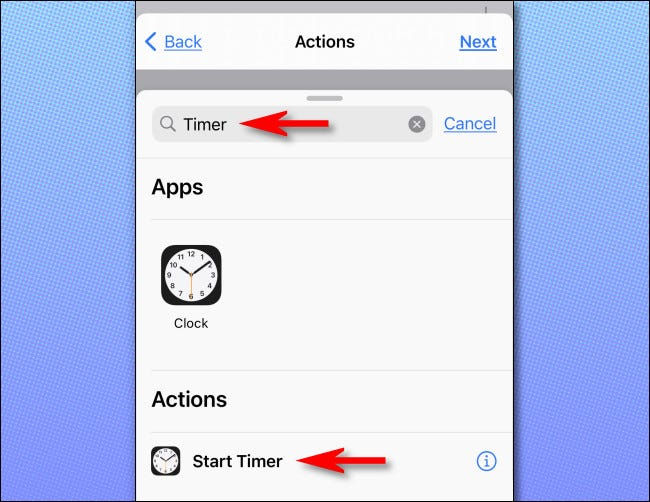 """Search for """"Timer,"""" then tap """"Start Timer."""""""