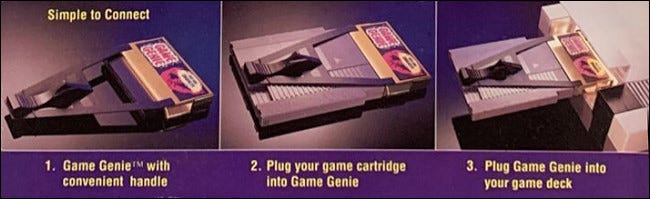 Photos of using the NES Game Genie from the Galoob box art.