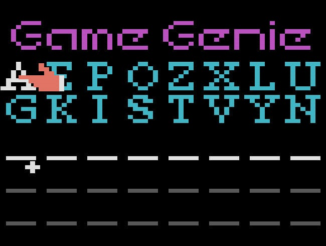 The NES Game Genie Code Entry Screen.