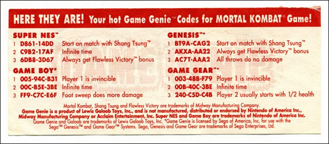Game Genie update codes for Mortal Kombat.