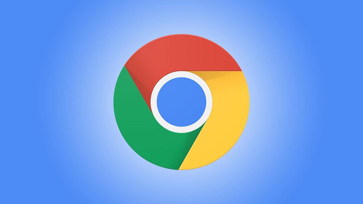 Логотип Google Chrome на синем фоне