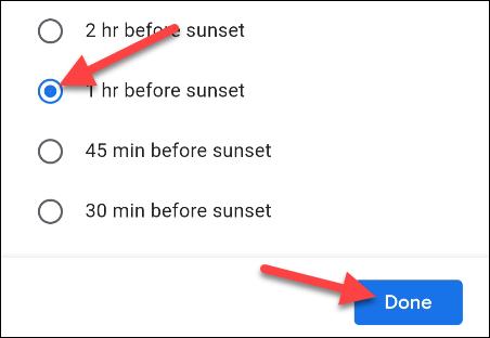 choose a time based on sunrise or sunset