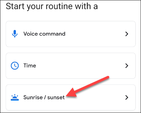 select sunrise / sunset