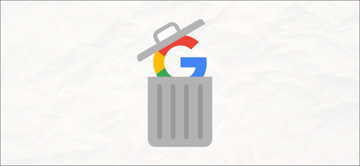 google logo in a trash can