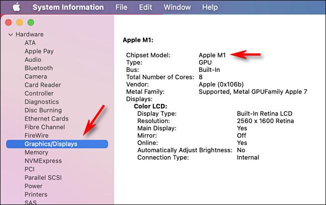 Részletes információk az Apple Silicon Mac rendszerinformációs alkalmazásának grafikáiról.