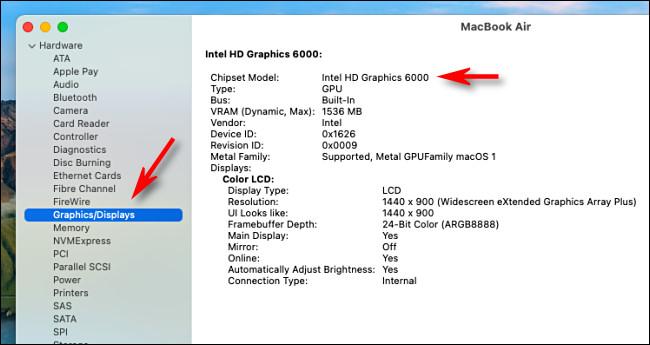 Részletes információk a Grafikáról az Intel Mac rendszerinformációs alkalmazásában.