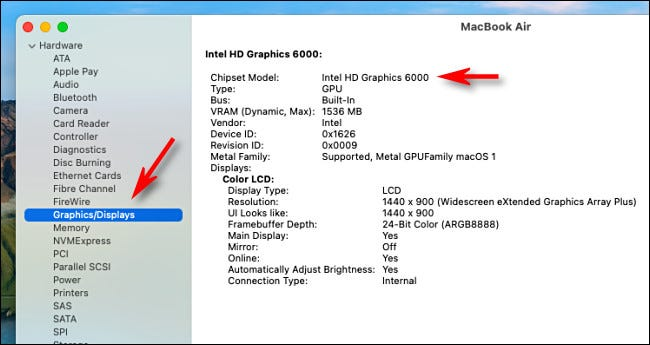 Detailed information on Graphics in the System Information app on an Intel Mac.