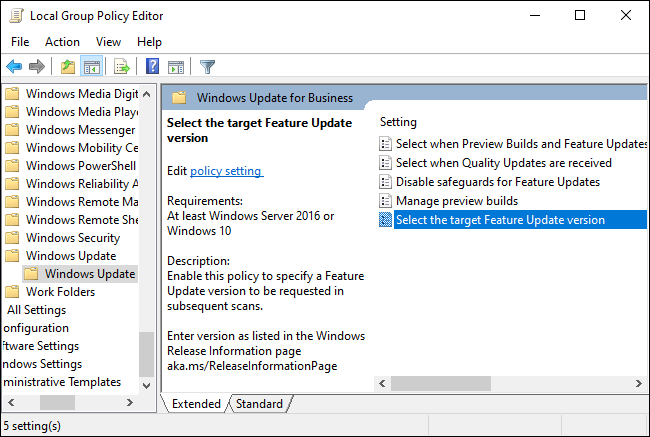 Windows Update for Business options in Group Policy.