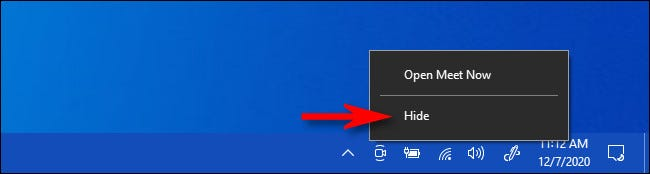 """Right-click the """"Meet Now"""" icon and select """"Hide."""""""