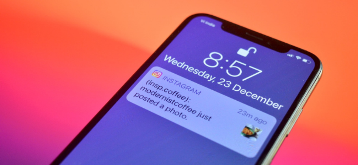 iPhone User Getting a Notification for an Instagram Post