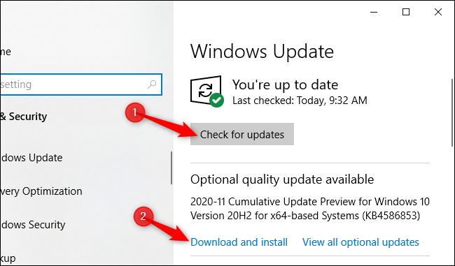 """Click """"Check for updates"""" and then click """"Download and install."""""""