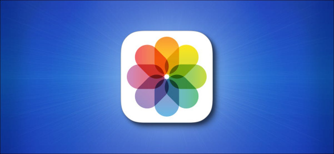 iOS Photos App icon on blue background