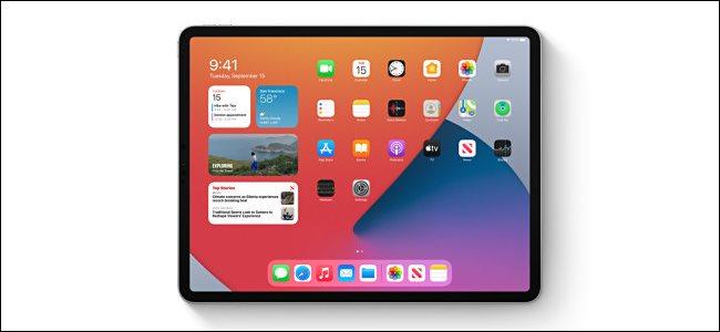 La schermata iniziale che mostra i widget su un iPad.